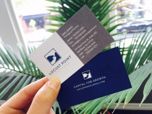 financial firm locust point capital business cards design.