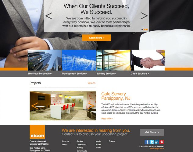 nincon construction company website design