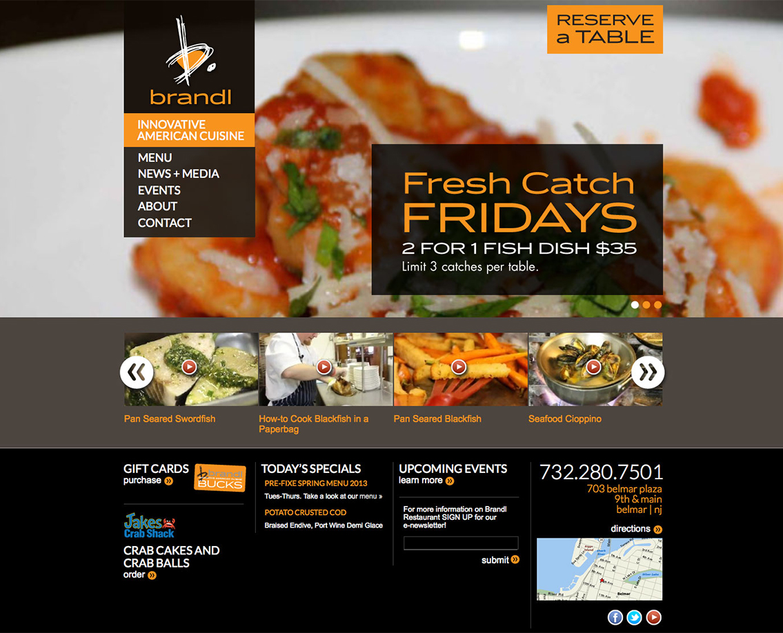 Restaurant website design web nj for