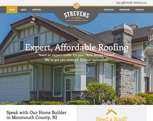 Strevens and Sons Home Builder Website