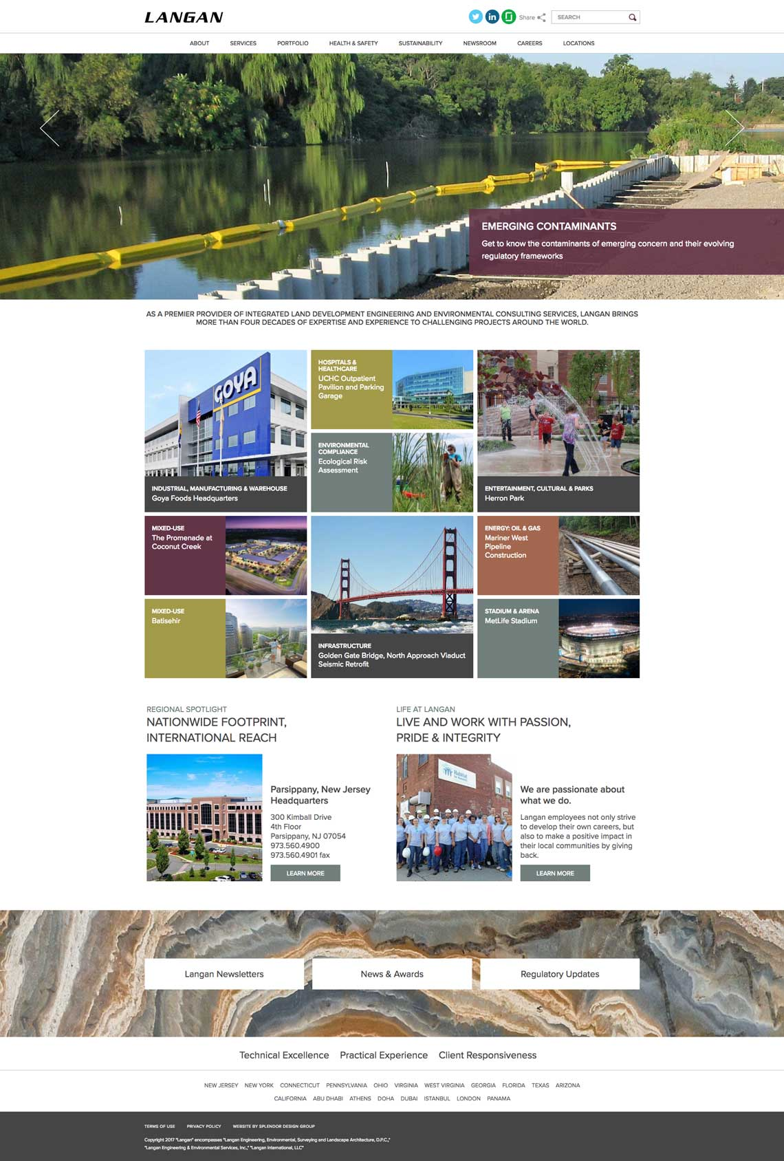 langan engineering website design.