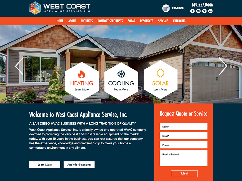 Website Design For West Coast Appliance Service Inc
