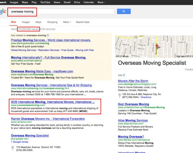 SEO results moving company