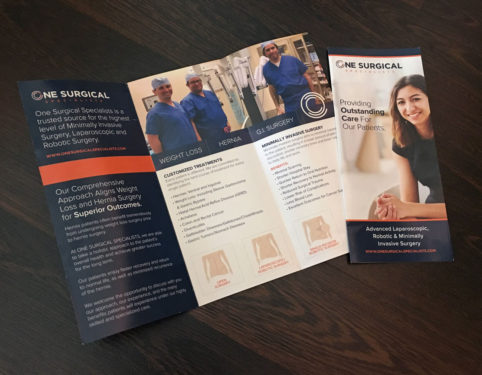 one surgical specialists dr. pereira print brochure design.