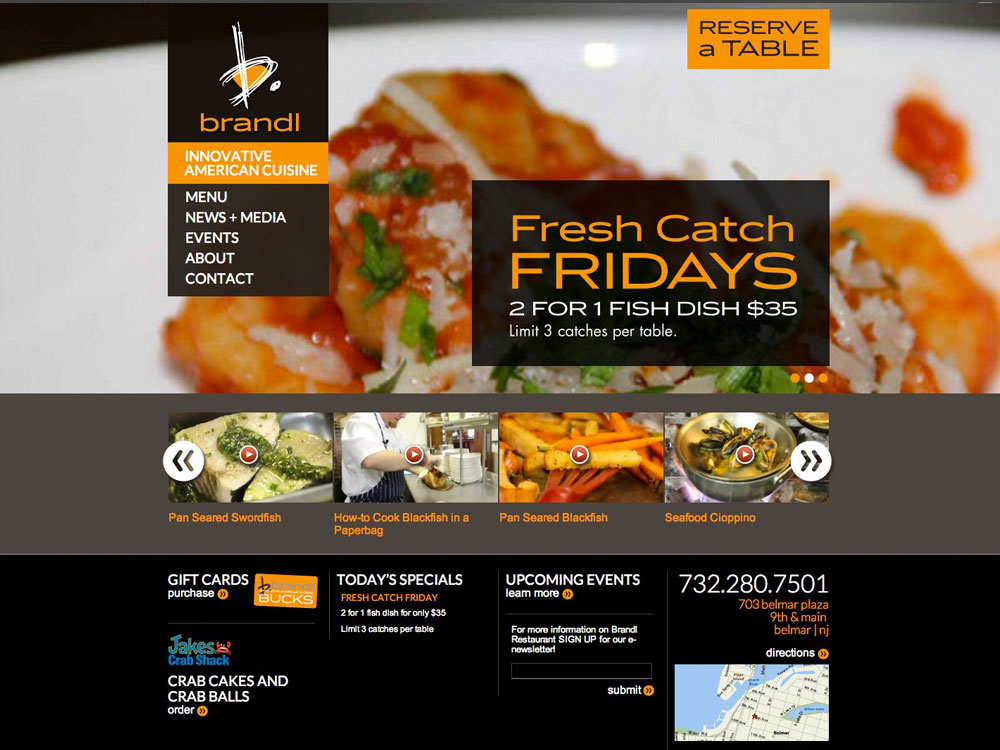 Restaurant branding web design website