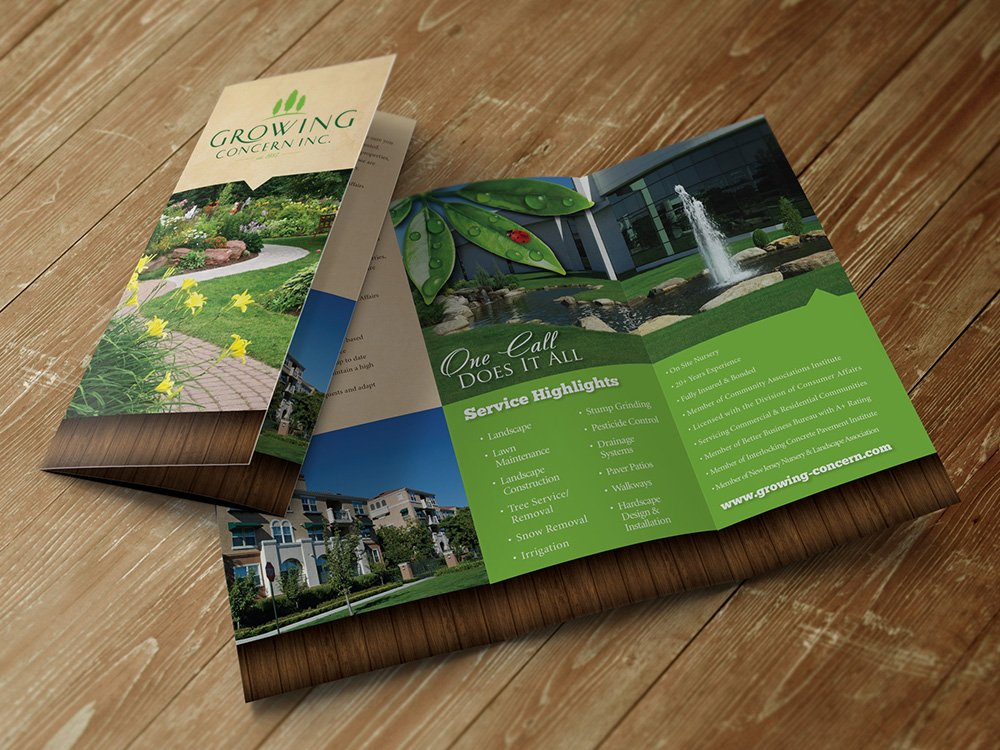 Brochure Design For Landscaper, Landscape Brochure Designer