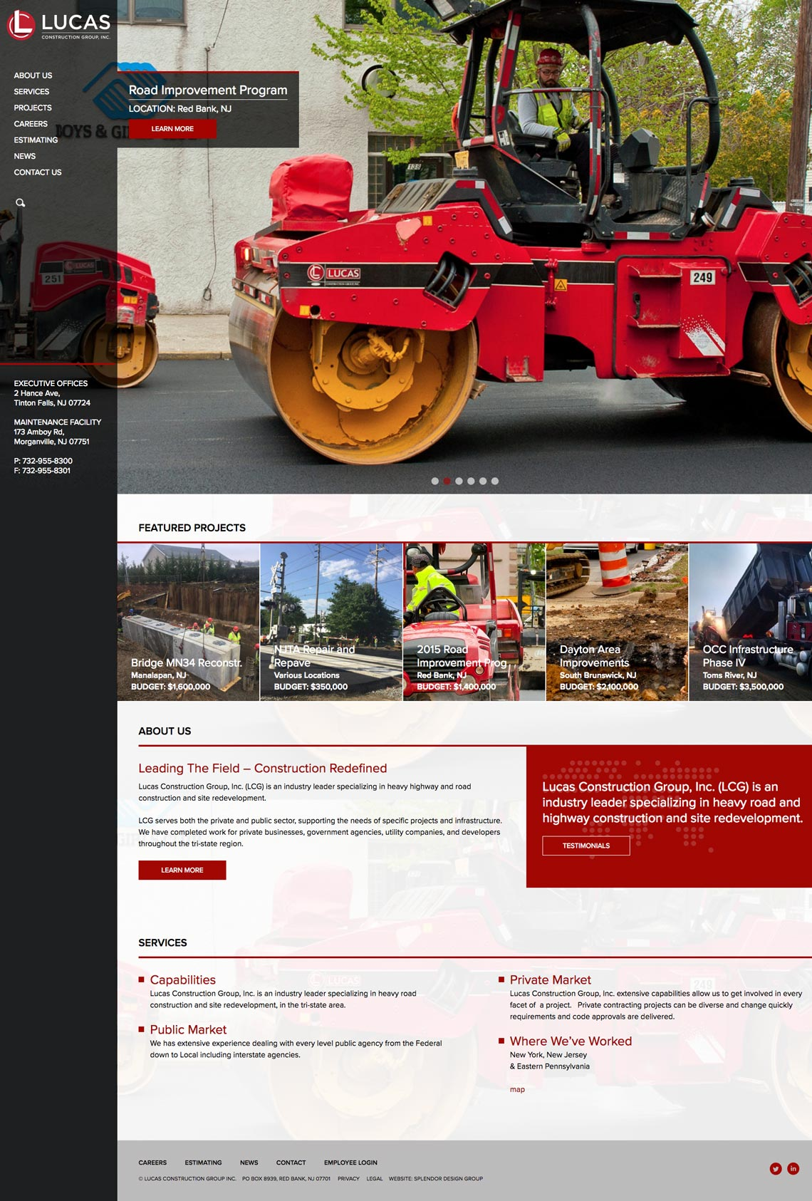 lucas construction website design.