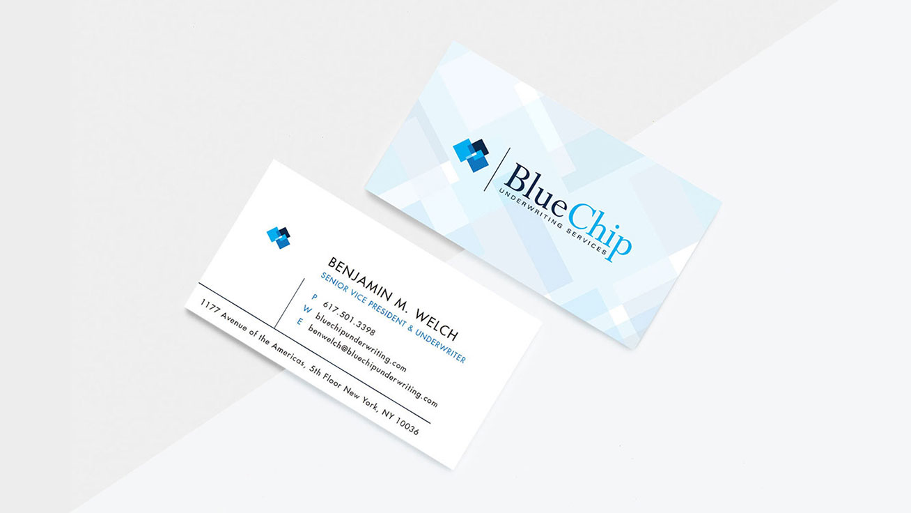 bluechip underwriting business card design