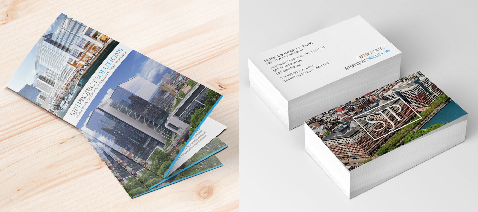 SJP stationery and brochure design