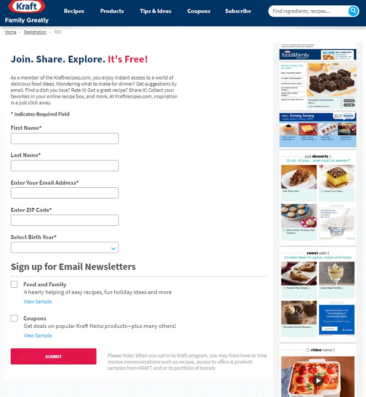 kraft example blog about contact forms