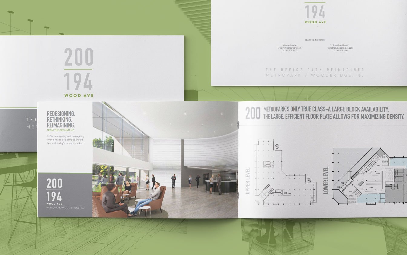 metropark 200 wood avenue south sjp properties brochure design.