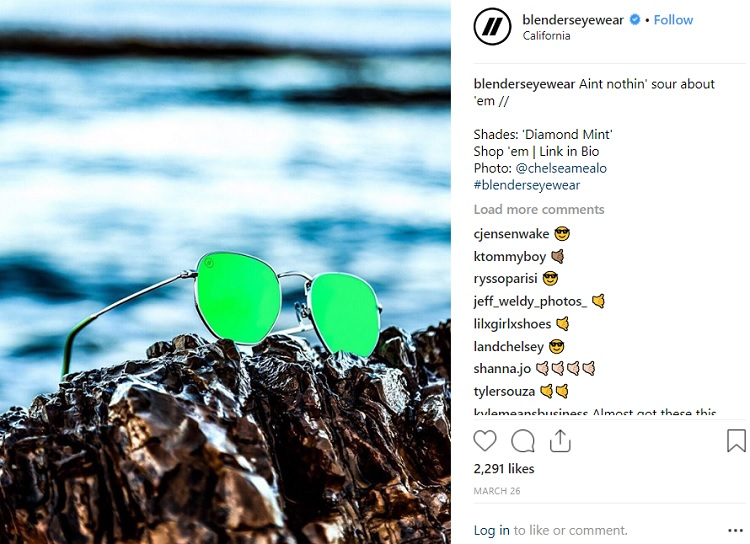 Blender's Eyewear Social Media Giveaway Contest Marketing Tactic