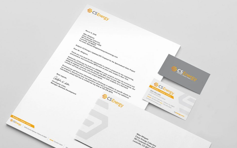 cs energy conti solar stationery design.