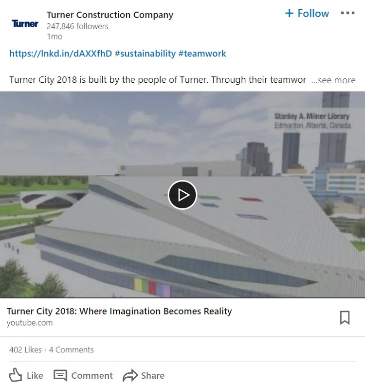 Turner Construction Company Social Media Marketing LinkedIn